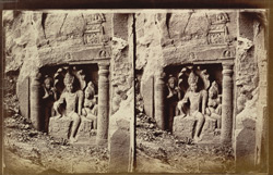 Close view of Nagaraja sculpture on left side of court of Buddhist chaitya hall, Cave XIX, Ajanta
